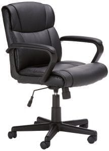 AmazonBasics Mid-Back Leather Office Chair