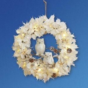 Collections Etc Lighted White & Blue Christmas Wreath w/Owls