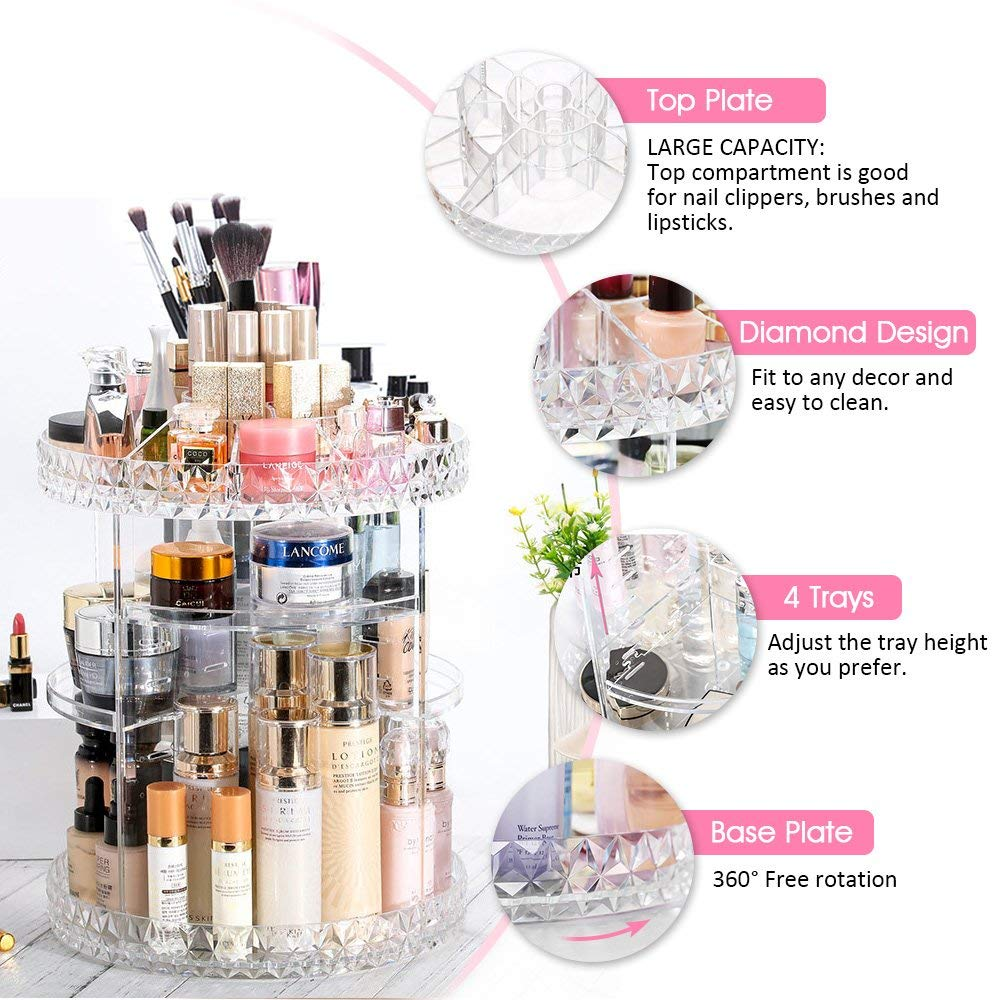 DreamGenius Makeup Organizer 360-Degree Rotating