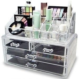 Ikee Design Acrylic Jewelry & Cosmetic/Makeup Storage Display Boxes Set