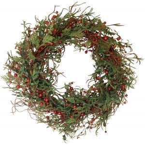 Marion Winter Berry Wreath 24 Inch - Versatile Woodsy Winter Wreath