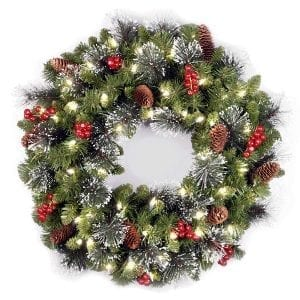 National Tree 24 Inch Crestwood Spruce Wreath with Silver Bristles