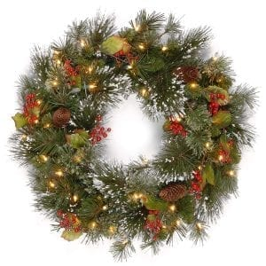 National Tree 24 Inch Wintry Pine Wreath with Cones, Red Berries, Snowflakes