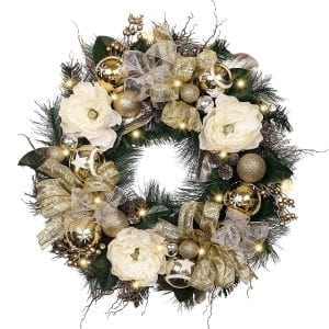 "Valery Madelyn Pre-Lit 24"" Elegant Champagne Gold Christmas Wreath with Ball Ornaments"