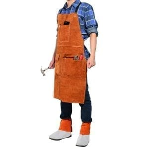 ​LEASEEK Leather Welding Work Apron - Heat Resistant & Flame Resistant Bib Apron
