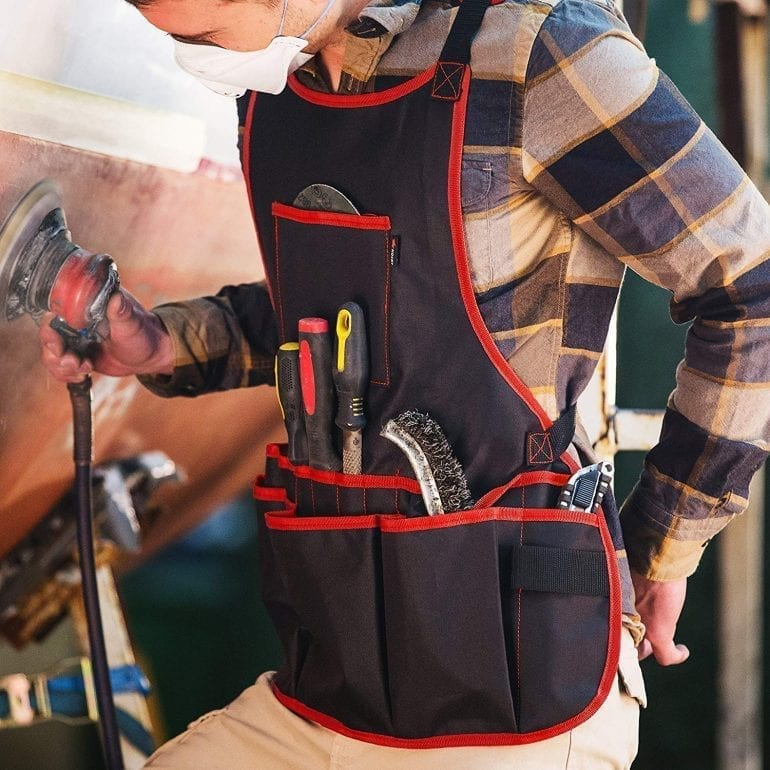 Canvas Work Apron with Tool Pockets for Men