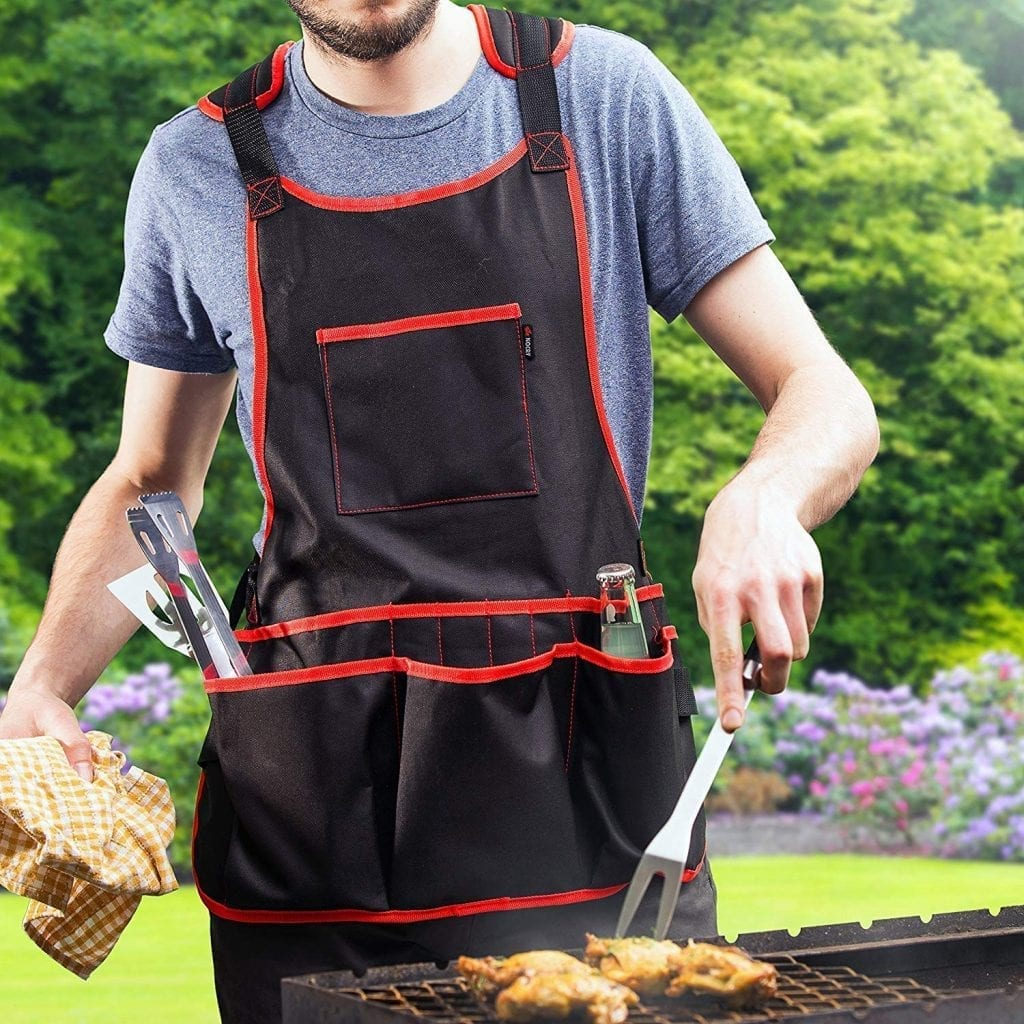 NoCry Professional Canvas Work Apron - with 16 Tool Pockets, Fully Adjustable, Waterproof & Protective