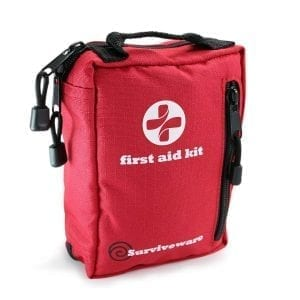 Surviveware Small First Aid Kit for Hiking, Backpacking, Camping, Travel, Car & Cycling