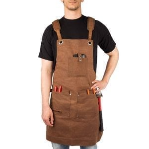 Waxed Canvas Heavy Duty Work Apron With Pockets
