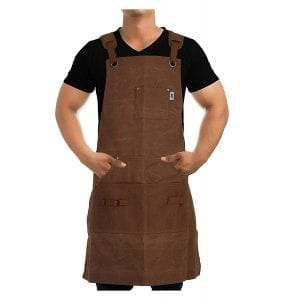 Work Apron For Men & Women By Premium Rhino - Heavy Duty Waxed Canvas - Multiple Tools Pockets