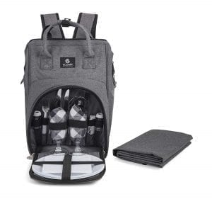 ALLCAMP Picnic Backpack with Detachable Bottle/Wine Holder, Fleece Blanket, Plates and Cutlery Set