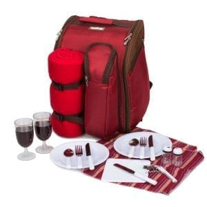 "APOLLO WALKER TAWA 2 Person Red Picnic Backpack with Cooler Compartment Includes Tableware & Fleece Blanket 45""x53""(red)"