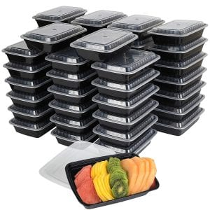50-Pack meal prep Plastic Microwavable Food Containers for meal prepping & Tight Safety Lid Covers by Promoze