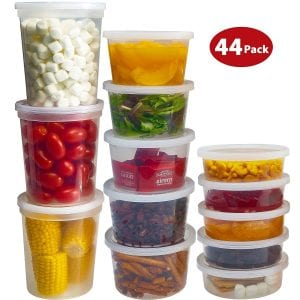 DuraHome Food Storage Containers with Lids 8oz, 16oz, 32oz Freezer Deli Cups Combo Pack