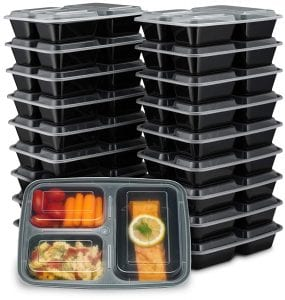 EZ Prepa [20 Pack] 32oz 3 Compartment Meal Prep Containers with Lids - Bento Box - Durable BPA Free Plastic Reusable Food Storage Containers