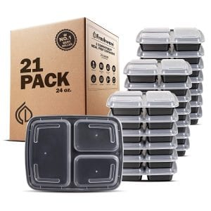 Freshware Meal Prep Containers [21 Pack] 3 Compartment with Lids, Food Storage Bento Box | BPA Free
