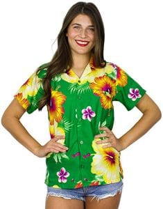 Funky Hawaiian Blouse Shirt Women Short