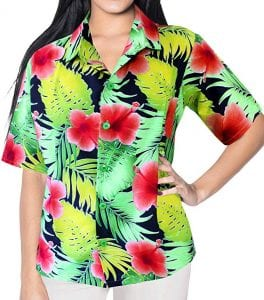 LA LEELA Hawaiian Shirt Beach Aloha Holiday Daily wear