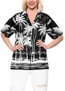 LA LEELA Hawaiian Shirt Blouses Button Up Women