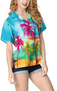 LA LEELA Hawaiian Shirt Blouses Button Up Women Beach Wear