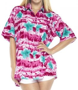 LA LEELA Hawaiian Shirt Ladies Beach Aloha Holiday Boyfriend
