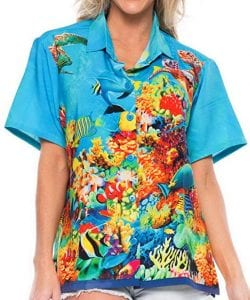 Ladies Hawaiian Shirt Tank Blouses By LA LEELA