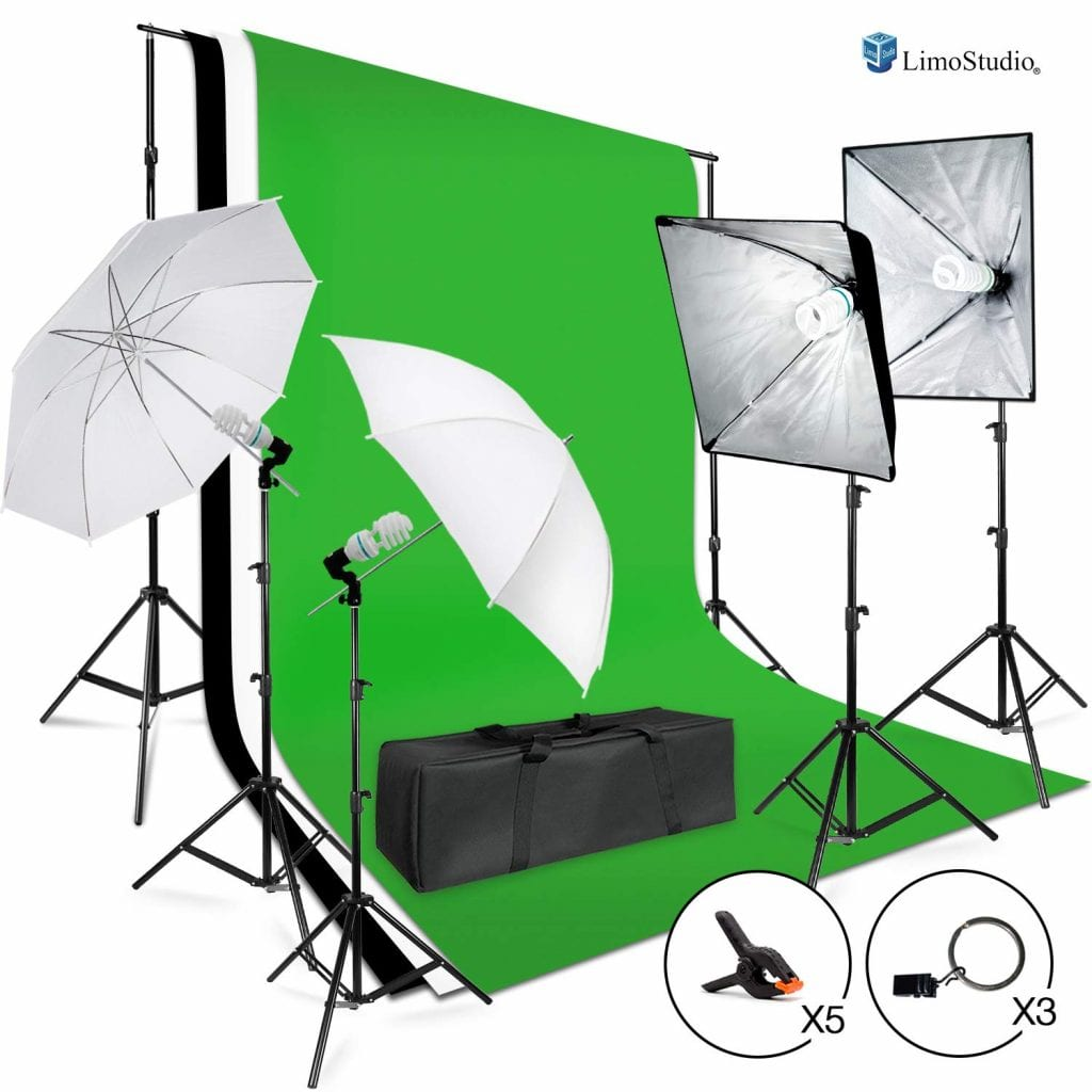 LimoStudio 3meter x 2.6meter / 10foot. x 8.5foot. Background Support System, 800W 5500K Umbrella Softbox Lighting Kit