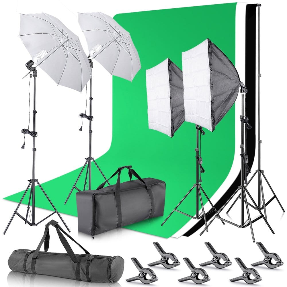 Neewer Background Support System and Umbrellas Softbox Continuous Lighting Kit