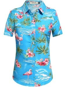 SSLR Women's Flamingos Floral Casual Short Sleeve Hawaiian Shirt