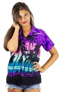 V.H.O. Funky Hawaiian Blouse Women Short-Sleeve
