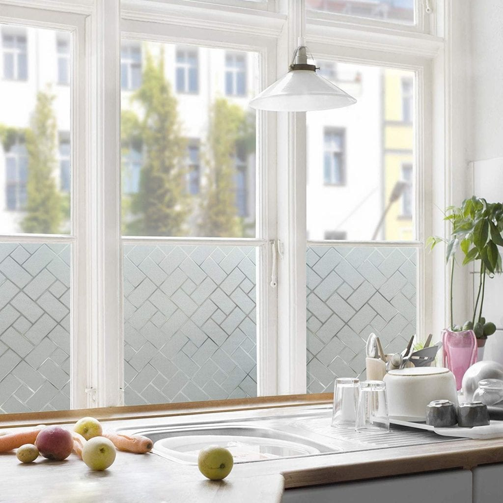 Coavas Striped and Tiled Non-Adhesive Window Film