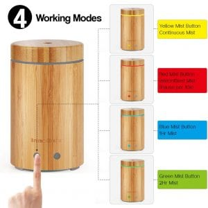 InnoGear Real Bamboo Ultrasonic Aroma Aromatherapy Essential Oil Diffuser Upgraded Version