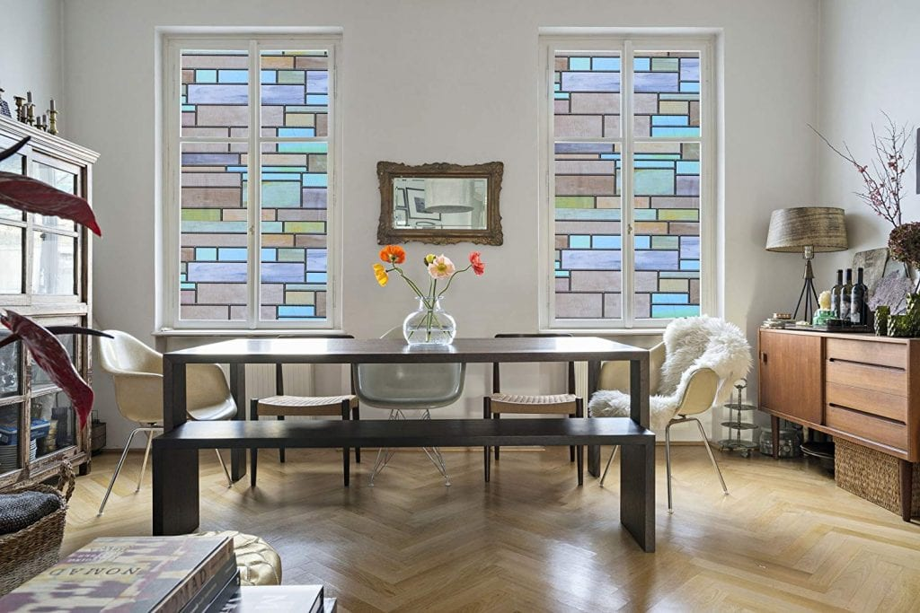 Niviy Artsy look Privacy Window Waterproof Covering Brick Stained Glass Window Film