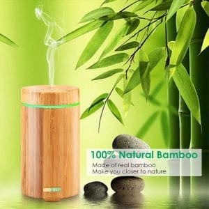 URPOWER Ultrasonic Aromotherapy Essential Oil Diffuser Real Bamboo
