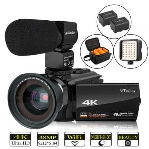 Video Camera 4K Camcorder AiTechny Ultra HD Digital WiFi Camera 48MP 16X Digital Zoom