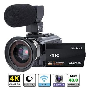 Video Camera Camcorder 4K kicteck Ultra HD Digital WiFi Camera 48.0MP 3.0 inch Touch
