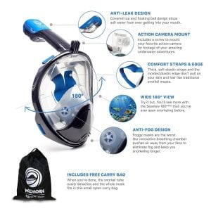 WildHorn Outfitters GoPro Compatible Snorkel Mask [180°Seaview]