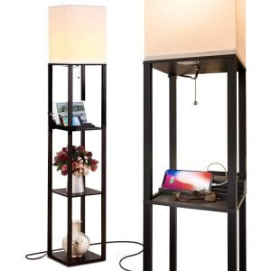 Brightech Maxwell Charging Shelf Floor Lamp