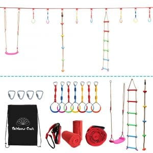 Rainbow Craft Hanging Obstacle Course for Kids