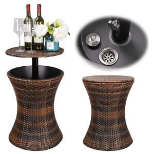 Super Deal 3in1 All-Weather Cool Wicker Bar Table