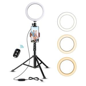 UBeesize Mini Led Selfie Ring Light with Tripod Stand