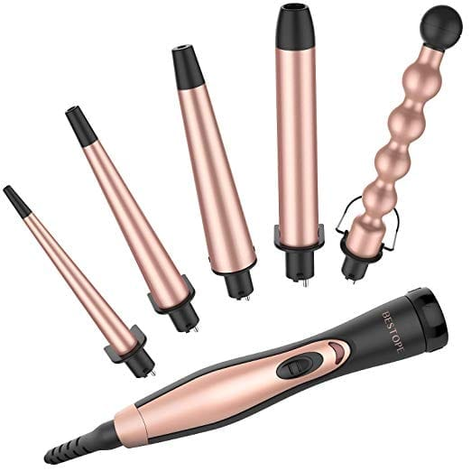 Bestope Ceramic Interchangeable Curling Iron (Rose Gold)