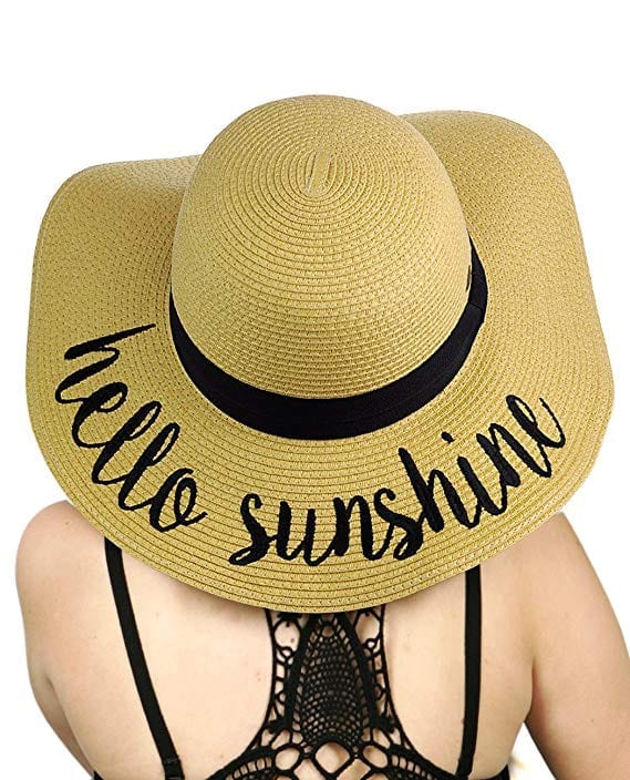 C.C Embroidered Floppy Brim Crushable Paper Weaved Beach Sun Hat