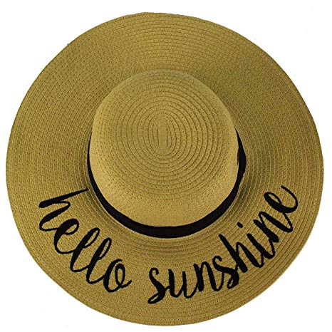 C.C Wide Brim Floppy Summer Derby Verbiage Elegant Sun Hat