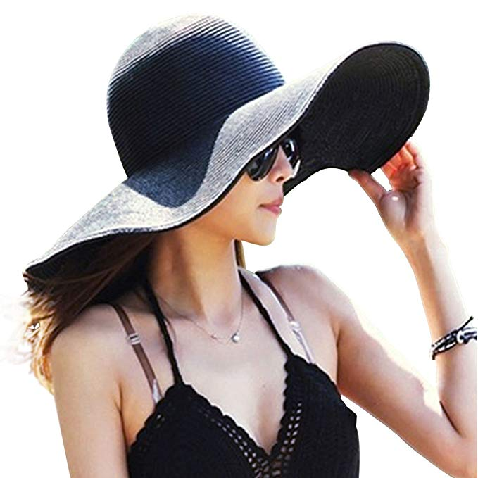 DRESHOW Big Bowknot Floppy Straw Hat Foldable Roll up Beach Cap UPF 50+