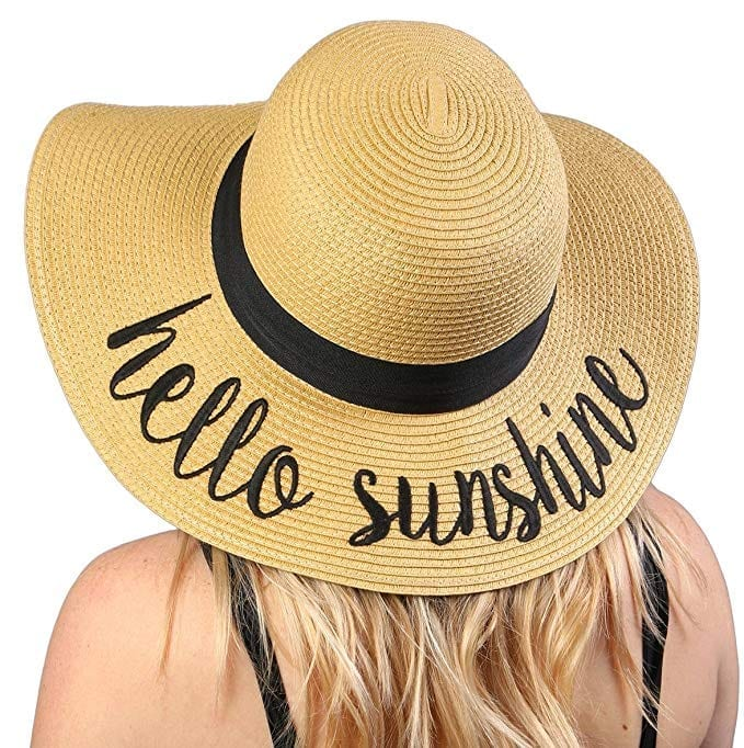 Funky Junque Adjustable Floppy Beach Hat Bold Cursive Embroidered