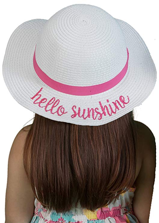 Funky Junque Bold Cursive Embroidered Adjustable Beach Floppy Sun Hat