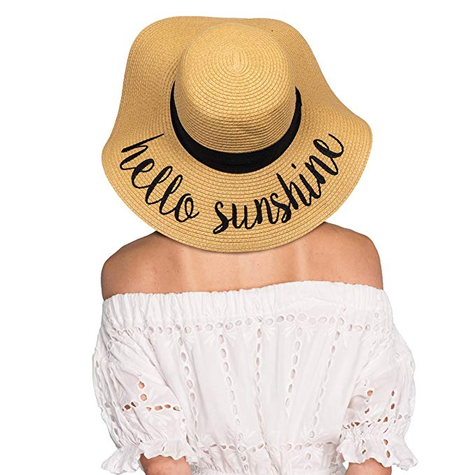 Hatsandscarf Floppy Brim Embroidered Lettering Straw Sun Hat