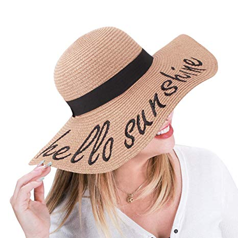 Jane Shine Floppy Embroidery Beach Straw Hat