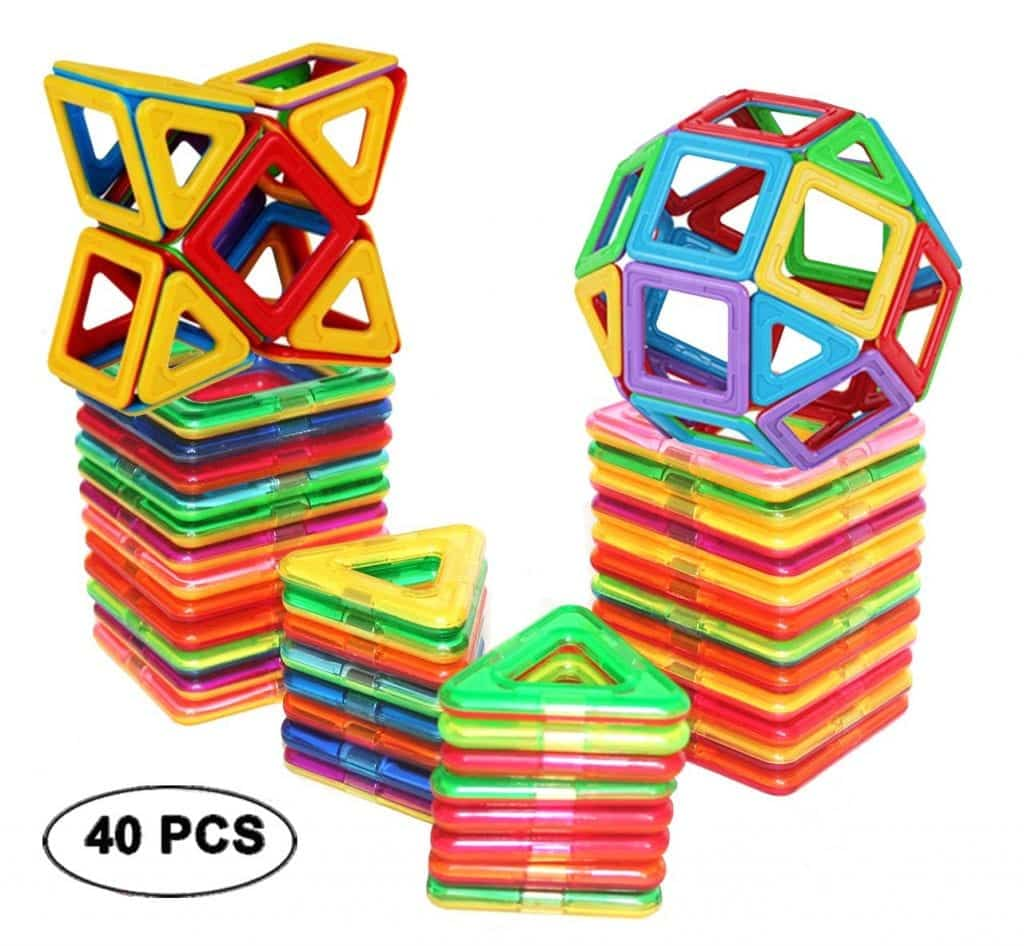 Magnetic Tiles Building Blocks Toys by dreambuilderToy 40 Pcs